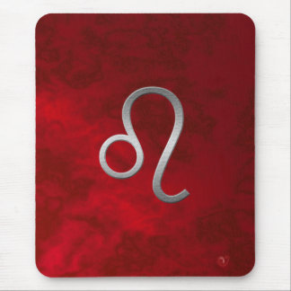 Lion argenté - rouge tapis de souris