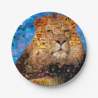 lion - collage de lion - mosaïque de lion - lion assiettes en papier