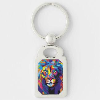Lion coloré porte-clé rectangulaire argenté