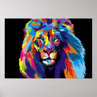 Lion coloré poster
