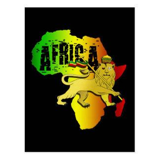 Lion continent africain de Rasta Judah de reggae Carte Postale
