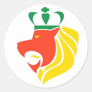 Lion couronné par reggae de Rasta Sticker Rond