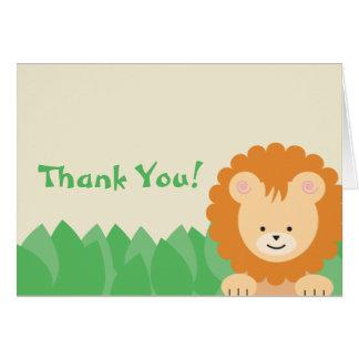 Lion dans le carte de remerciements de jungle