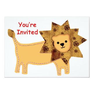 Lion d'Applique vous êtes invités Carton D'invitation 12,7 Cm X 17,78 Cm