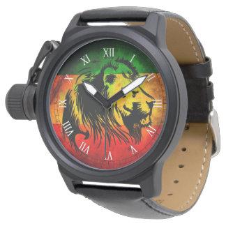 lion de drapeau de graffiti de reggae de rasta de montres bracelet