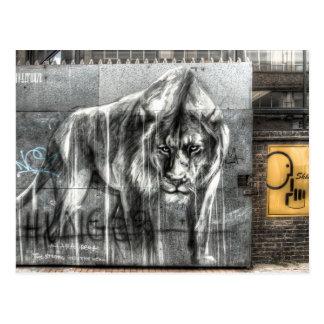 Lion de graffiti, Shoreditch Londres Carte Postale