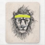 Lion de hippie (fond clair) tapis de souris