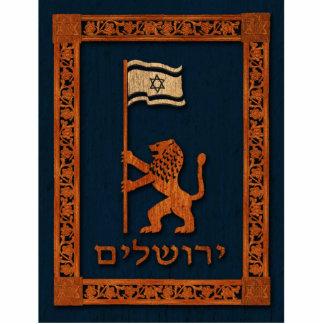 Lion de jour de Jérusalem avec le drapeau Magnet Photo Sculpture
