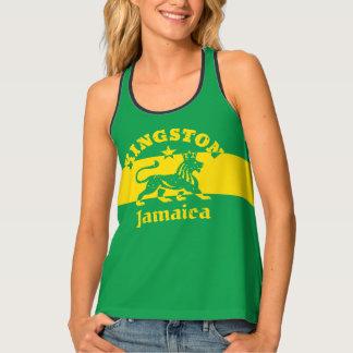 Lion de Kingston Jamaïque Rasta et drapeau Débardeur