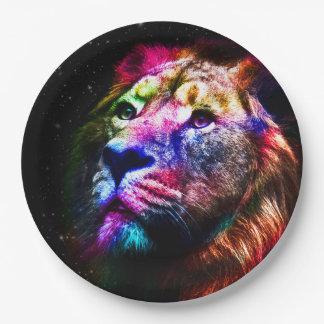 Lion de l'espace - lion coloré - art de lion - assiettes en papier
