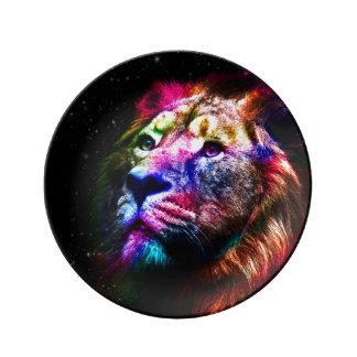 Lion de l'espace - lion coloré - art de lion - assiettes en porcelaine