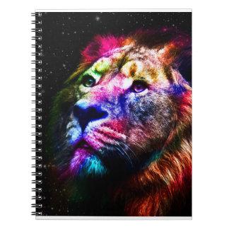 Lion de l'espace - lion coloré - art de lion - carnet