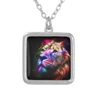Lion de l'espace - lion coloré - art de lion - collier