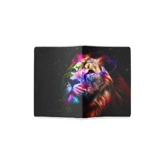 Lion de l'espace - lion coloré - art de lion - protège-passeport