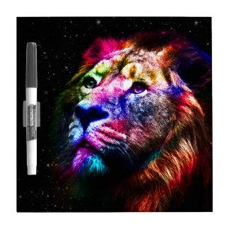 Lion de l'espace - lion coloré - art de lion - tableau effaçable à sec
