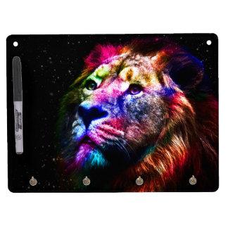 Lion de l'espace - lion coloré - art de lion - tableau effaçable à sec avec porte-clés
