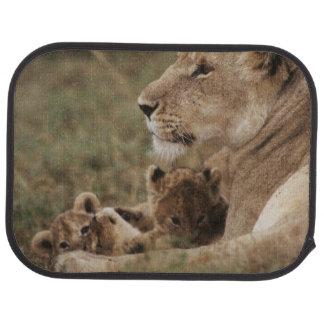 Lion de mère se reposant avec des petits animaux tapis de sol