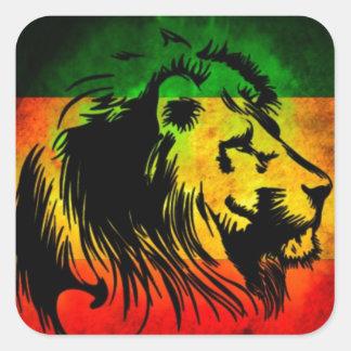 Lion de Rasta de reggae Autocollant Carré