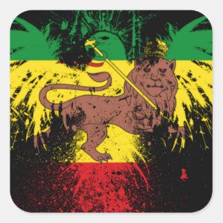 Lion de Rasta de reggae Sticker Carré