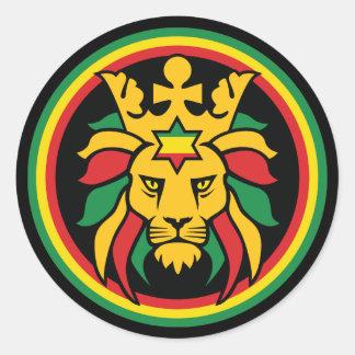 Lion de Rastafari Dreadlocks de Judah Sticker Rond