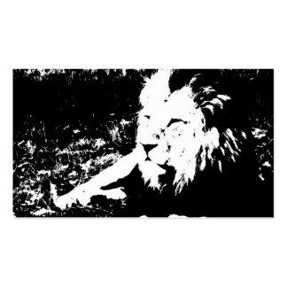 Lion en noir et blanc carte de visite