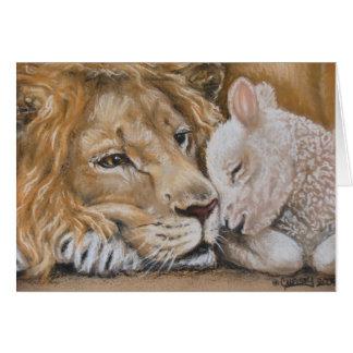 Lion et agneau par la carte de voeux de TACS 5x7