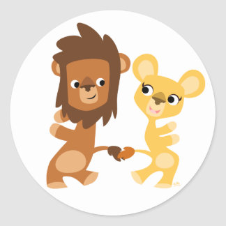 Lion et lionne de bande dessinée dansant autour de adhésifs ronds