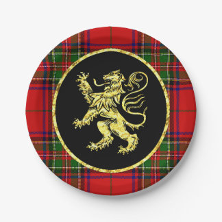 Lion et plaid écossais d'or assiettes en papier