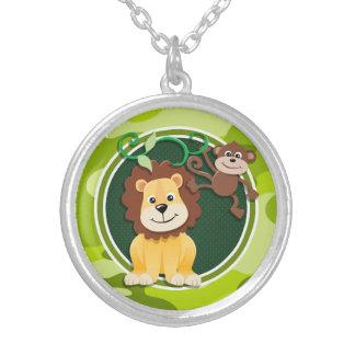 Lion et singe camo vert clair camouflage collier