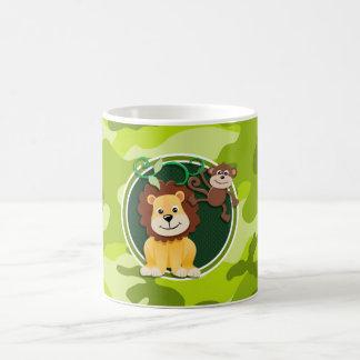 Lion et singe camo vert clair camouflage mug à café