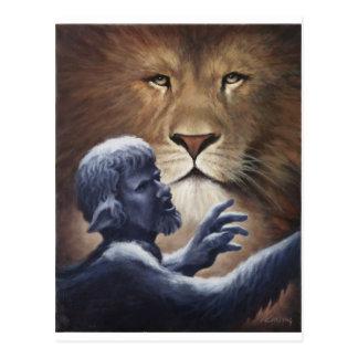 Lion et statue carte postale