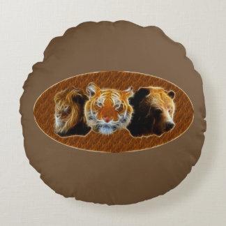Lion et tigre et ours coussins ronds