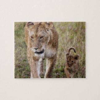 Lion femelle avec l'petit animal (Panthera Lion) c Puzzle