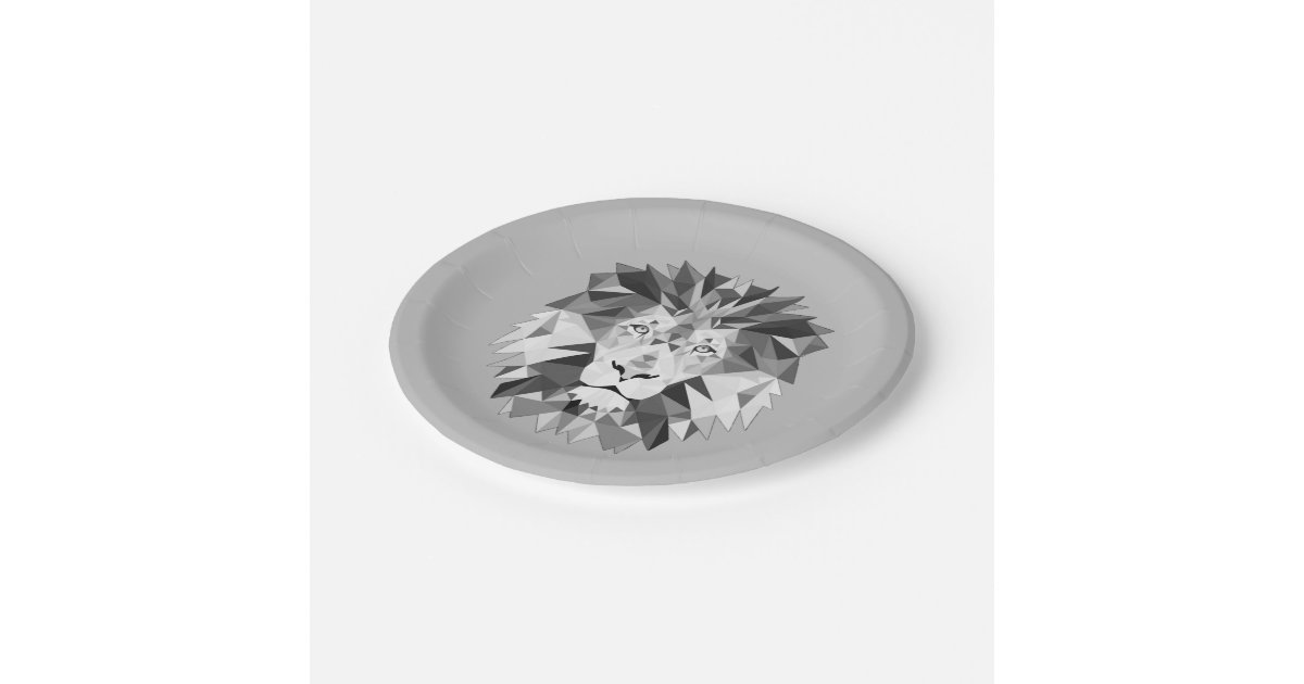 lion g om trique argent assiette en papier 17 8 cm zazzle. Black Bedroom Furniture Sets. Home Design Ideas