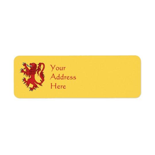 Lion Gules effréné Étiquette D'adresse Retour