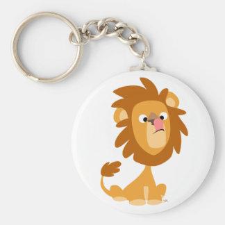 Lion idiot ! porte - clé de bande dessinée porte-clé rond