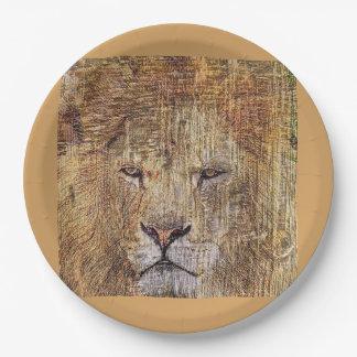 Lion majestueux de faune animale de safari de assiettes en papier