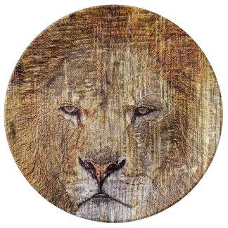 Lion majestueux de faune animale de safari de assiettes en porcelaine