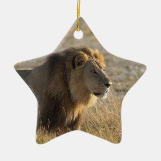 LION MASCULIN 14 BOTSWANA ORNEMENT ÉTOILE EN CÉRAMIQUE