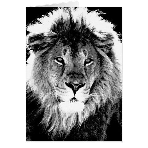 lion noir et blanc carte de v ux zazzle. Black Bedroom Furniture Sets. Home Design Ideas