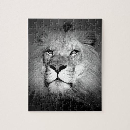 lion noir et blanc puzzles avec photo zazzle. Black Bedroom Furniture Sets. Home Design Ideas