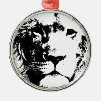 Lion Ornement Rond Argenté