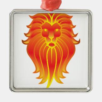 Lion personnalisable de zodiaque de Lion du feu Ornement Carré Argenté