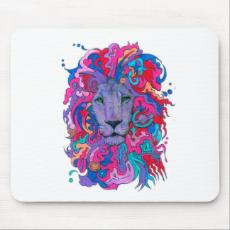 Lion psychédélique pourpre tapis de souris