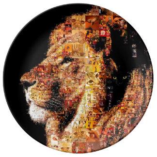 Lion sauvage - collage de lion - mosaïque de lion assiette en porcelaine