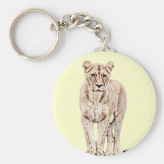 Lionne majestueuse porte-clé rond