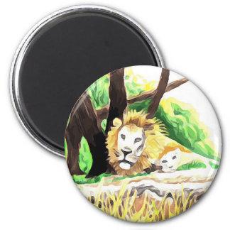 Lions de safari aimant