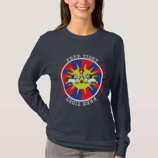Lions libres de neige du Thibet et slogan de T-shirt