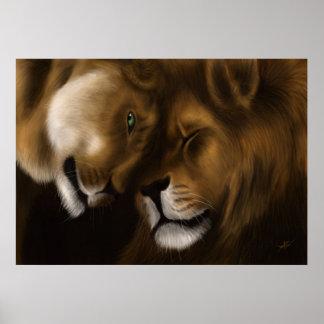 Lions - peinture de Digitals Posters