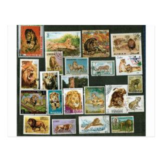 Lions sur des timbres carte postale